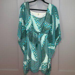Ya Los Angelos Long Sleeve Zig Zag Pattern Dress